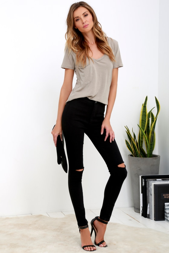 Cool Black Jeans - High-Waisted Skinny Jeans - Ripped Jeans