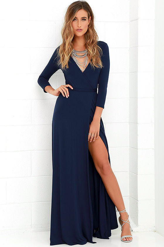 Lovely Navy Blue Maxi Dress Wrap Dress Wrap Maxi Dress