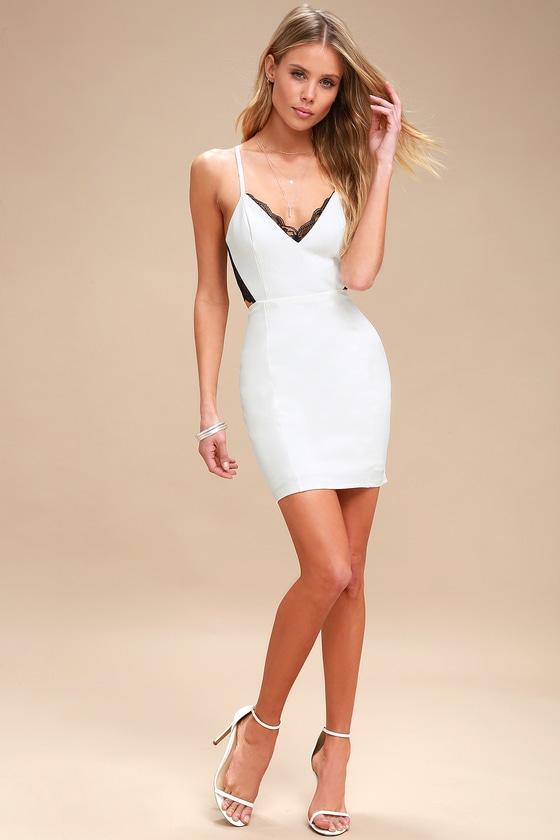 02a0b46042 Sexy Ivory Lace Dress - Black Lace Dress - Backless Dress -  54.00