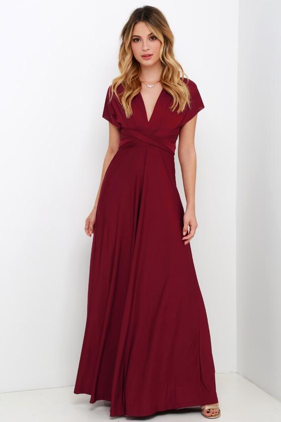 Always Stunning Convertible Burgundy Maxi Dress