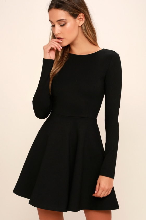 Cute Black Dress Long Sleeve Dress Skater Dress