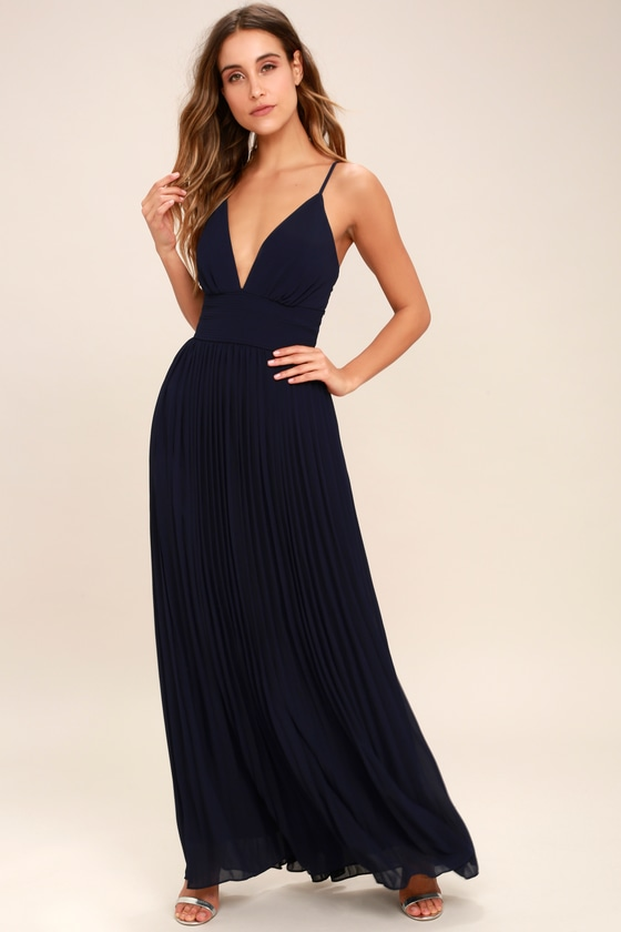 Stunning Navy Blue Dress - Pleated Maxi Dress - Blue Gown