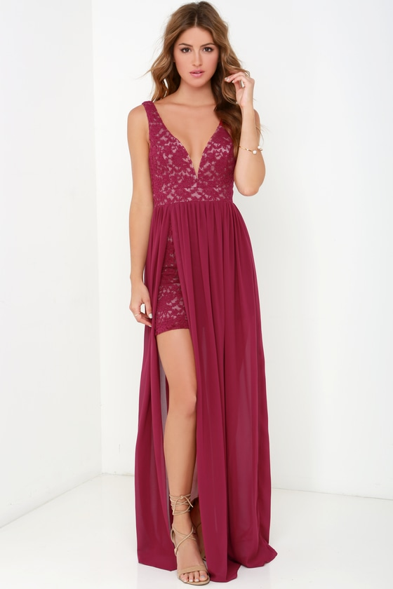 Lovely Berry Red Dress - Lace Maxi - Homecoming Dress
