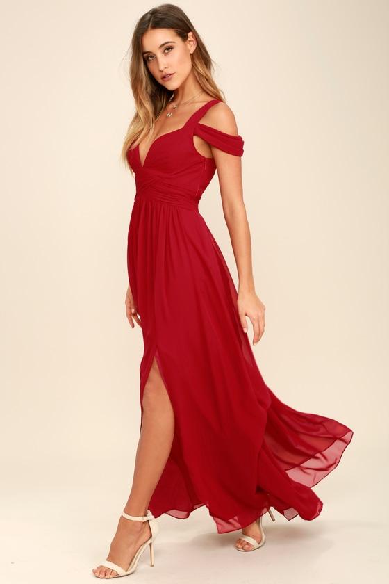 b5efce0dc7d7 Wine Red Maxi Dress - Cocktail Dress - Bridesmaid Dress