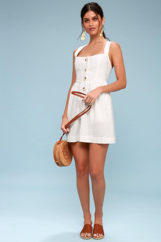Free People Carolina - White Button-Up Mini Dress
