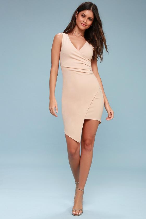 a176fb56cf8 Sexy Nude Bodycon Dress - Sleeveless Dress - Wrap Dress