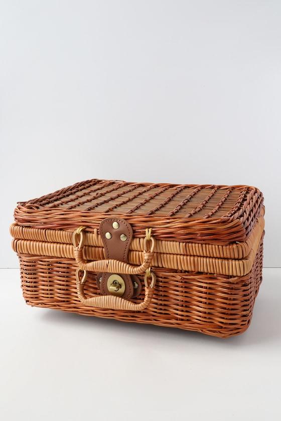 woven basket with lid. DeGarmo Tan Woven Basket Bag With Lid