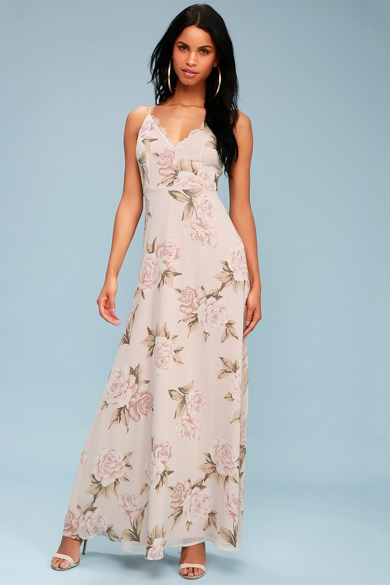 Lovely Taupe Floral Print Dress - Floral Maxi Dress