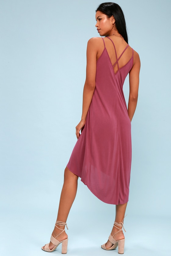 Mood and Melody Washed Magenta High-Low Dress 2