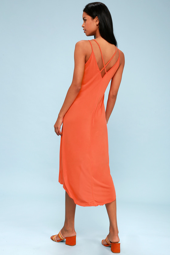 Mood and Melody Coral Orange High-Low Dress 2