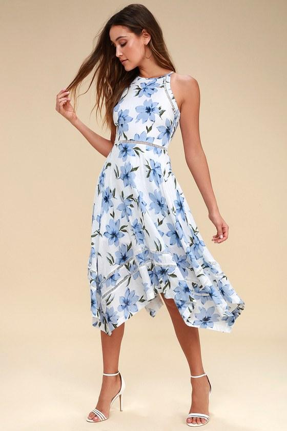 Zahara Blue and White Floral Print Midi Dress