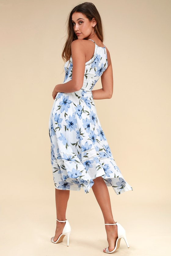 Lovely Blue And White Dress Floral Print Dress Midi Dress