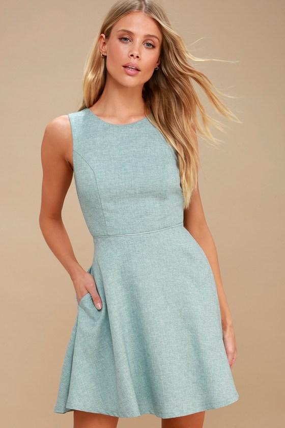 Cute Mint Blue Dress - Skater Dress - Backless Dress