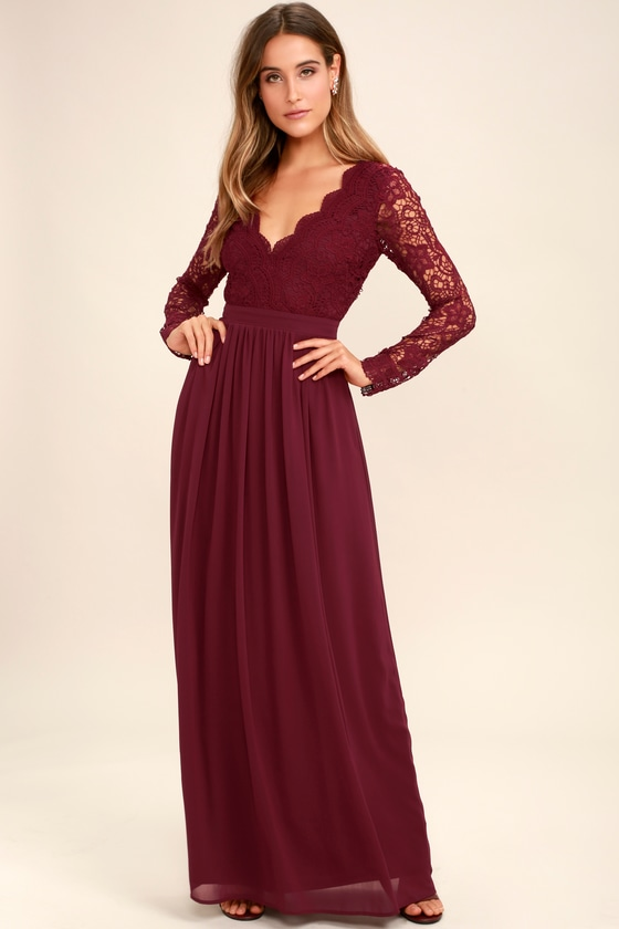 Lovely Burgundy Dress Lace Maxi Dress Long Sleeve Dress