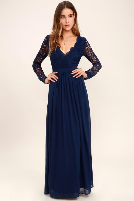 Navy Blue Dress - Maxi Dress - Lace Dress- Long Sleeve Dress