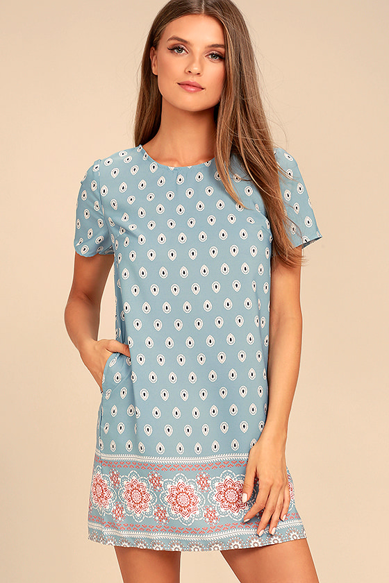 Boho Blue Print Dress - Shift Dress - Short Sleeve Dress