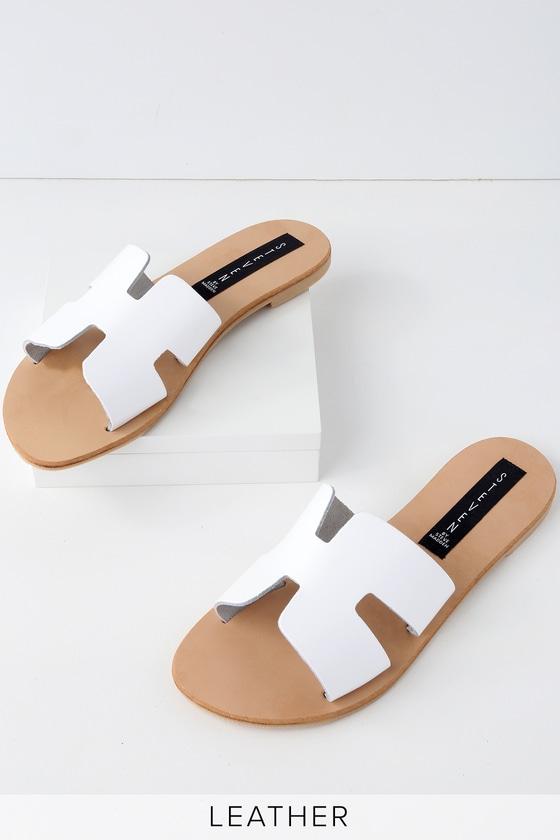 Steven By Steve Madden Greece White Leather Slide Sandals