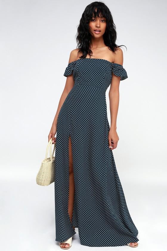 Dream Love Navy Blue Polka Dot Off The Shoulder Maxi Dress 9