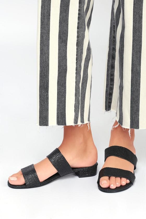 Decker Black Woven Slide Sandals 2