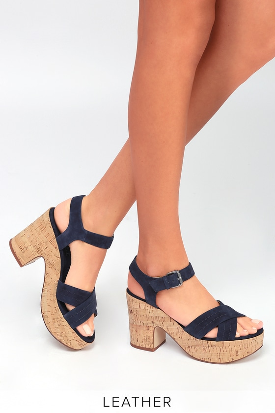 Lulus Flaire Rose Suede Leather Cork Platform Sandal Heels - Lulus VQ2zBMipLa