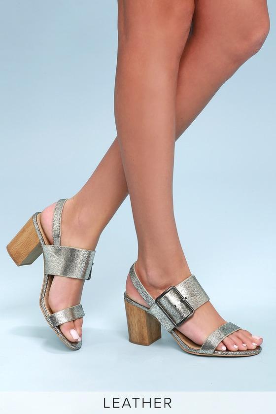 Lulus Bo Nickle Metallic Leather High Heel Sandal Heels - Lulus 9eQhq
