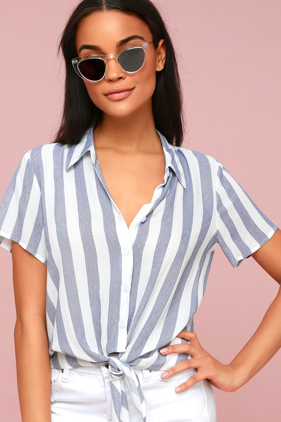 Chic navy blue striped button up top striped tie front top portofino coast navy blue striped button up tie front top ccuart Gallery