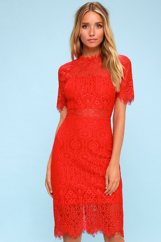 Chic Red Dress Red Lace Dress Red Sheath Dress