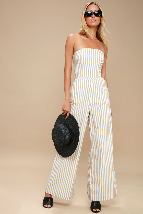 SUNDAZE WHITE AND YELLOW STRIPED LACE-UP STRAPLESS JUMPSUIT