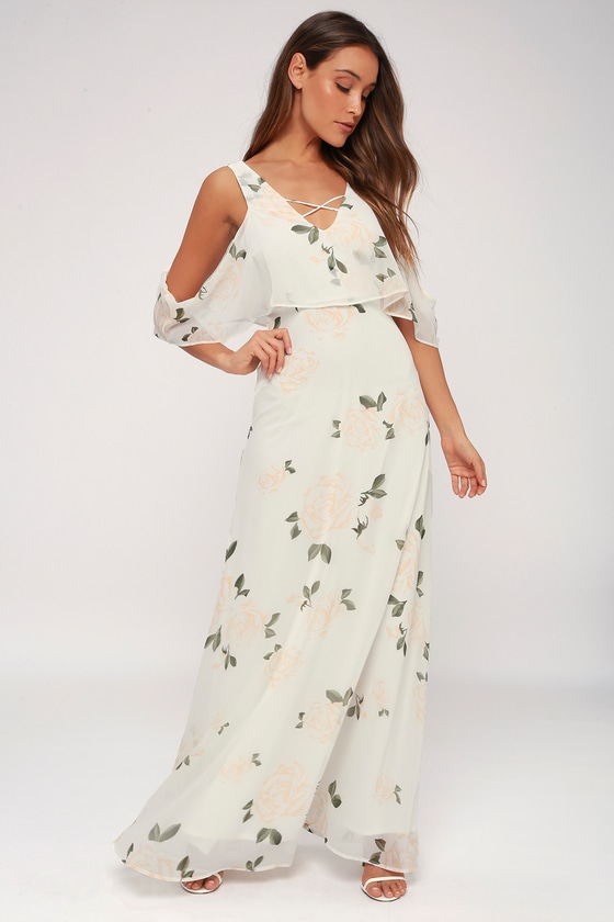 Floral Print Maxi Dress - White Off-the-Shoulder Dress