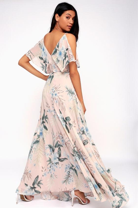 Lovely Pink Tropical Print Dress - Cold-Shoulder Maxi Dress