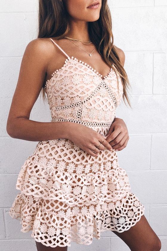 00f36789bc62 Cute Pale Blush Dress - Crochet Lace Dress - Ruffle Dress