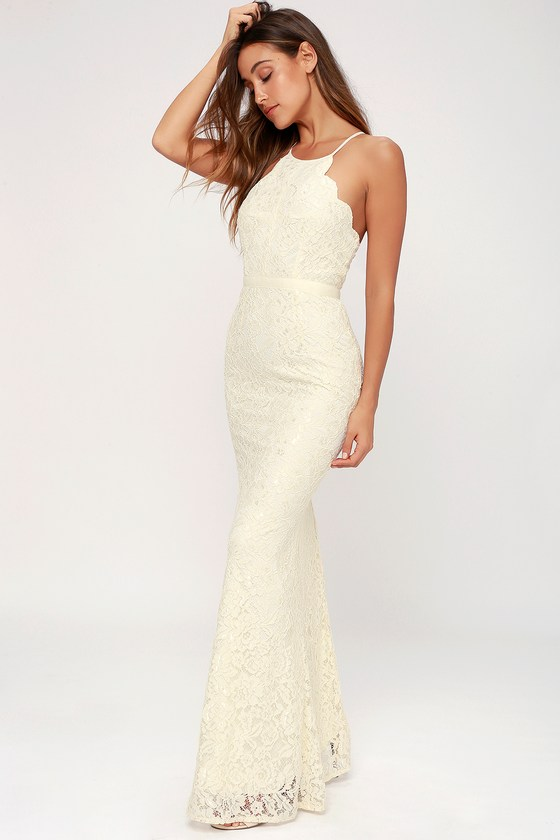Lovely Cream Gown Lace Dress Maxi Dress