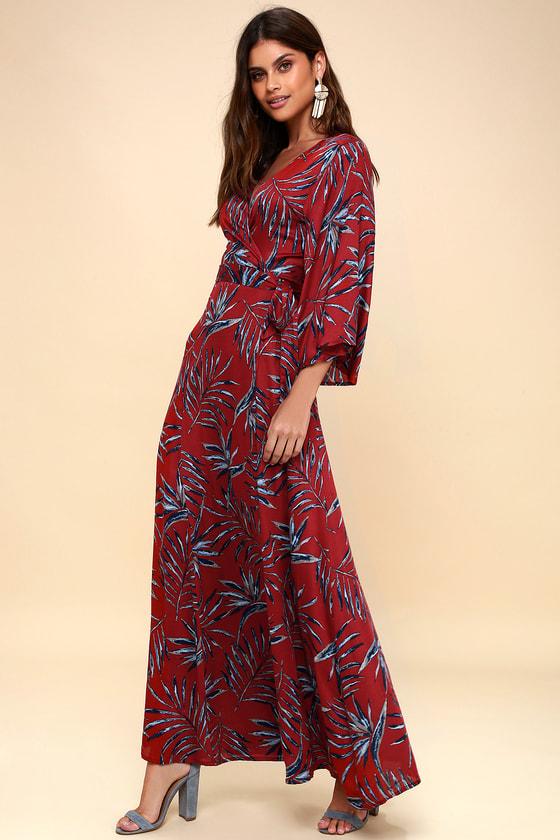 Isle of Love Rust Red Leaf Print Kimono Sleeve Wrap Maxi Dress 2
