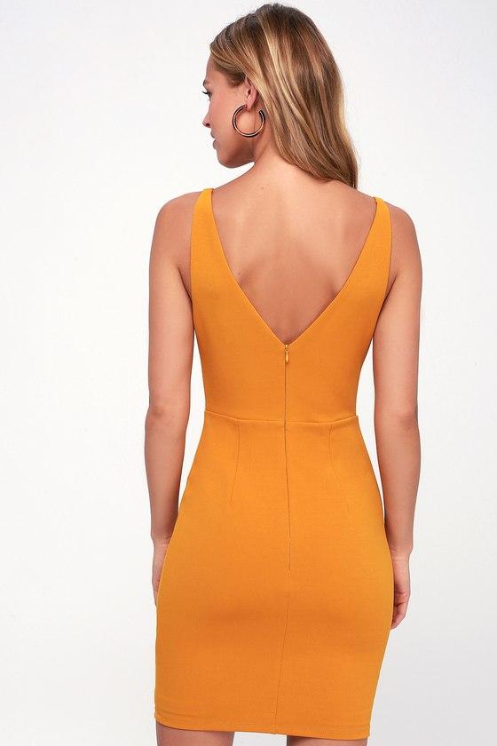 Embrace the Night Mustard Yellow Bodycon Mini Dress 4