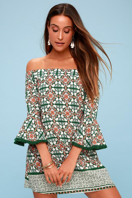 Wanderlust for Life Green Print Off-the-Shoulder Mini Dress 3