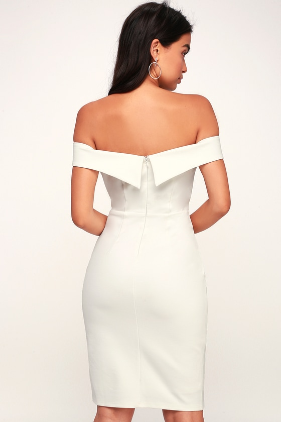 Classic Glam White Off-the-Shoulder Bodycon Dress 5