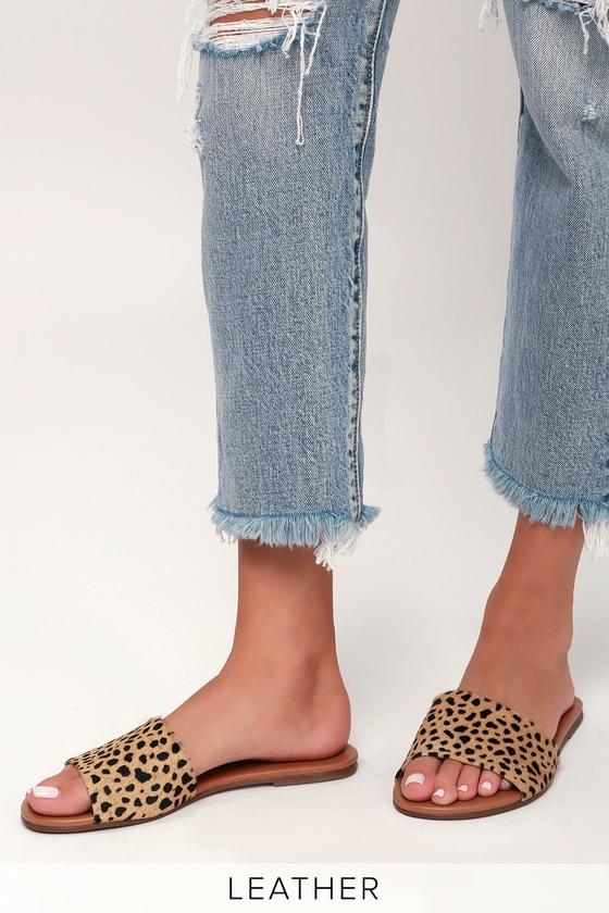 Tara Leopard Calf Hair Leather Slide Sandals 2
