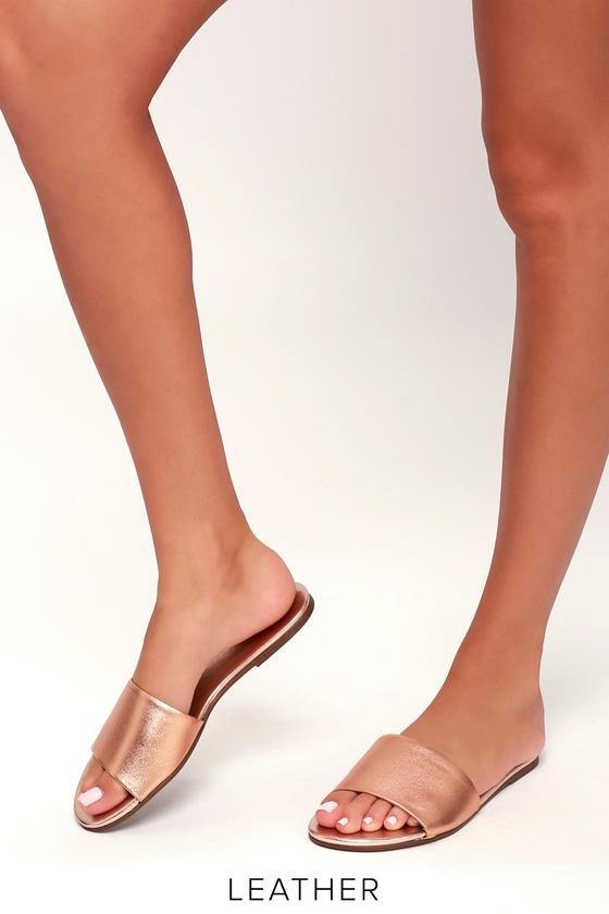 Tara Rose Gold Nappa Leather Slide Sandals 2