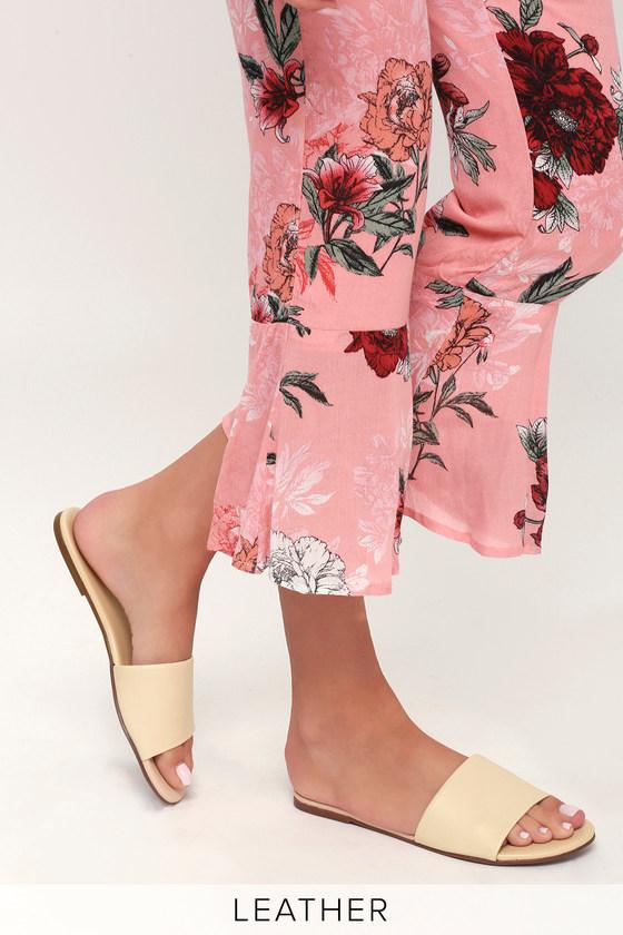 Tara Off White Nappa Leather Slide Sandals 2