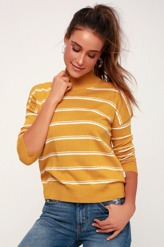 ARMED MUSTARD YELLOW STRIPED SWEATER TOP RVCA