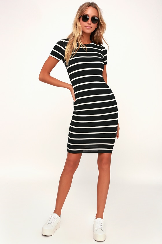 Black and white striped bodycon dress style online brands