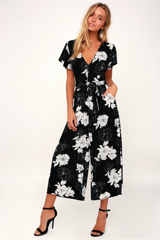 NORTH PACIFIC BLACK AND WHITE FLORAL PRINT CULOTTE JUMPSUIT