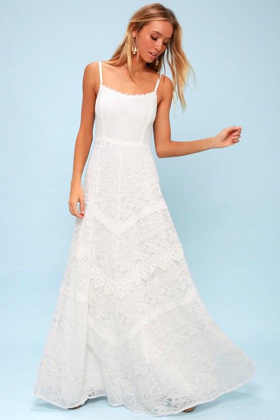 Stunning White Lace Dress Backless Lace Maxi Dress