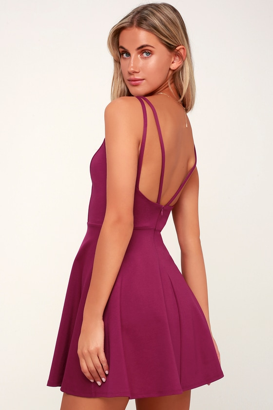 Chic Magenta Dress - Skater Dress - Magenta Sleeveless Dress 865b84d45