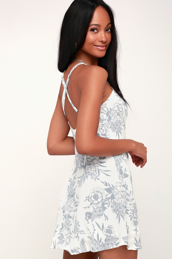 Lucy Love RACHEL WHITE AND GREY FLORAL PRINT SLIP DRESS