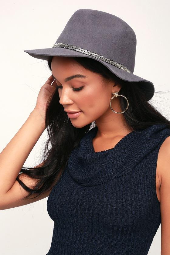 Lorinda Grey Beaded Felt Hat by Lulus