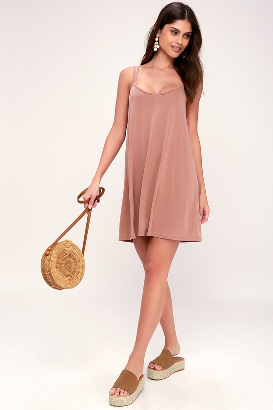 Cute Rusty Rose Dress - Strappy Dress - Rusty Rose Swing Dress
