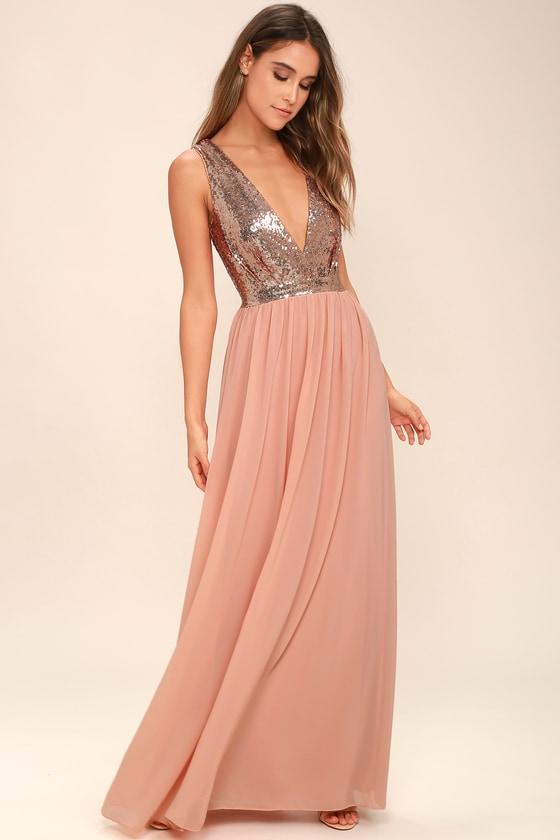 Lovely Rose Gold Maxi Dress - Plunge Sequin Dress