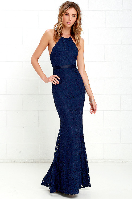 Zenith Navy Blue Lace Maxi Dress