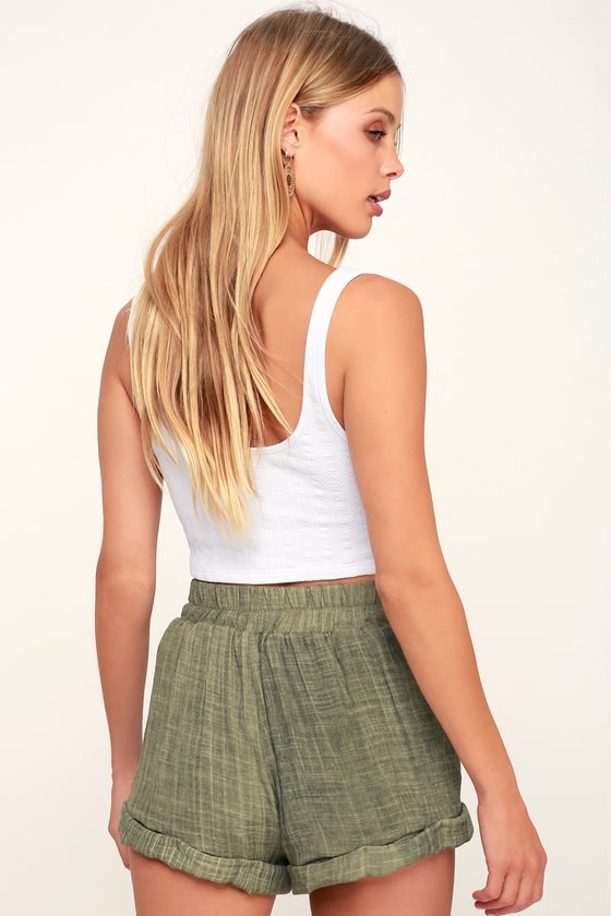 Spell Washed Olive Green Tie-Front Shorts 5